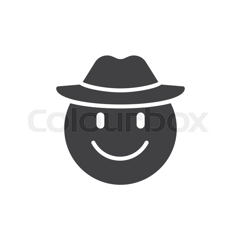 Smiling emoticon with cowboy hat     | Stock vector | Colourbox