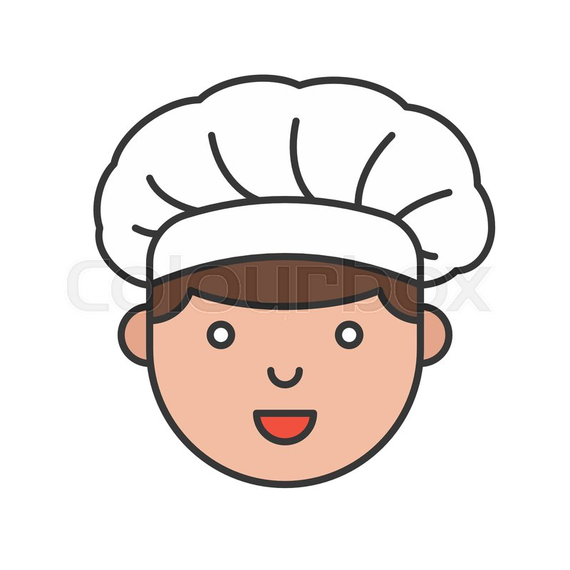Cute men chef head filled outline ...  9373a183ca5a
