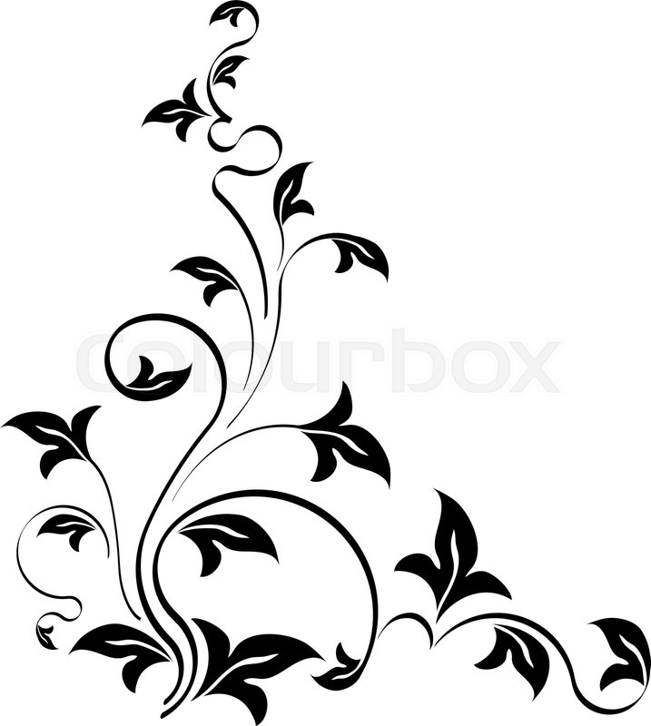 Stencil style floral corner  Template     | Stock vector