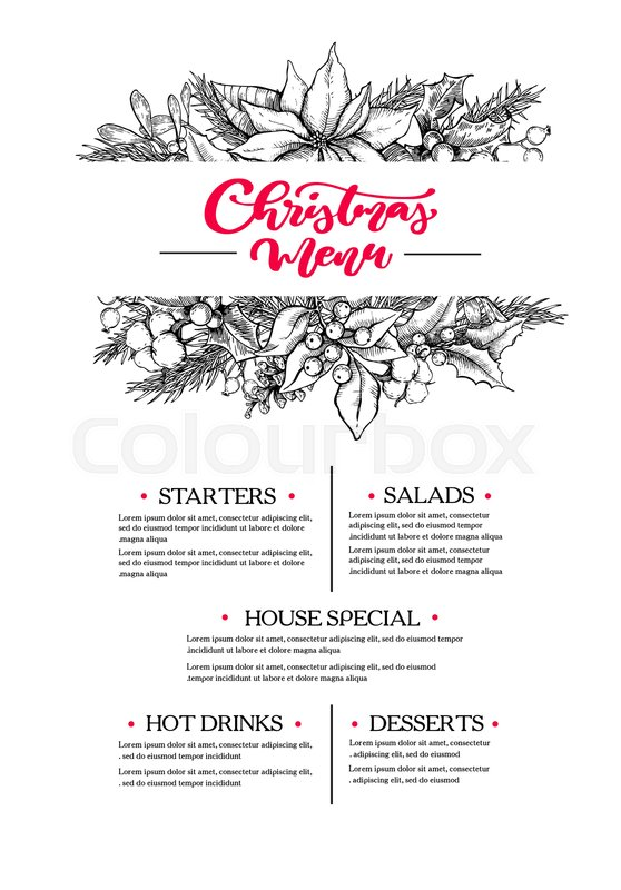 Christmas Garland Drawing.Christmas Menu Restaurant And Cafe Stock Vector