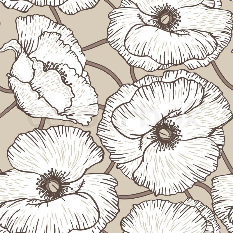 Elegance seamless pattern with poppy flowers vector floral elegance seamless pattern with poppy flowers vector floral illustration in vintage style stock vector colourbox mightylinksfo