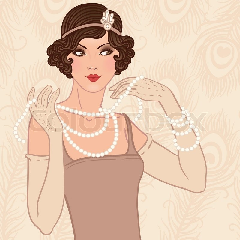 Retro party invitation design with a flapper girl 20's style | Vector ... Beautiful Lady Face Clip Art