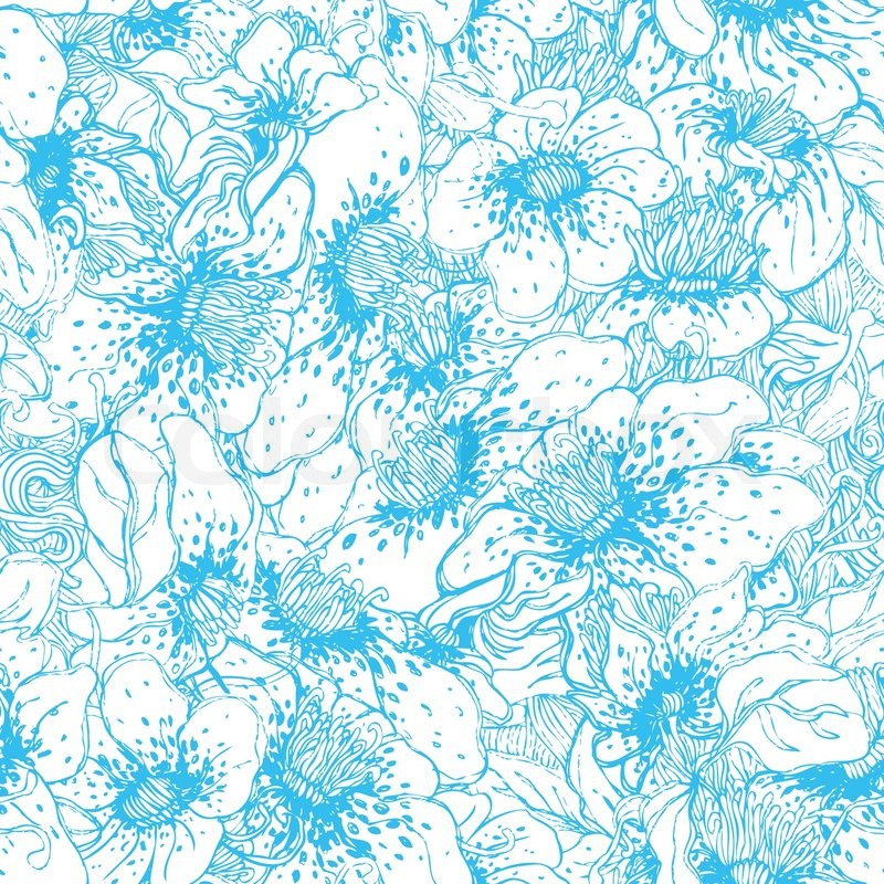 Seamless blue floral vector pattern | Vector | Colourbox: https://www.colourbox.com/vector/seamless-blue-floral-vector...