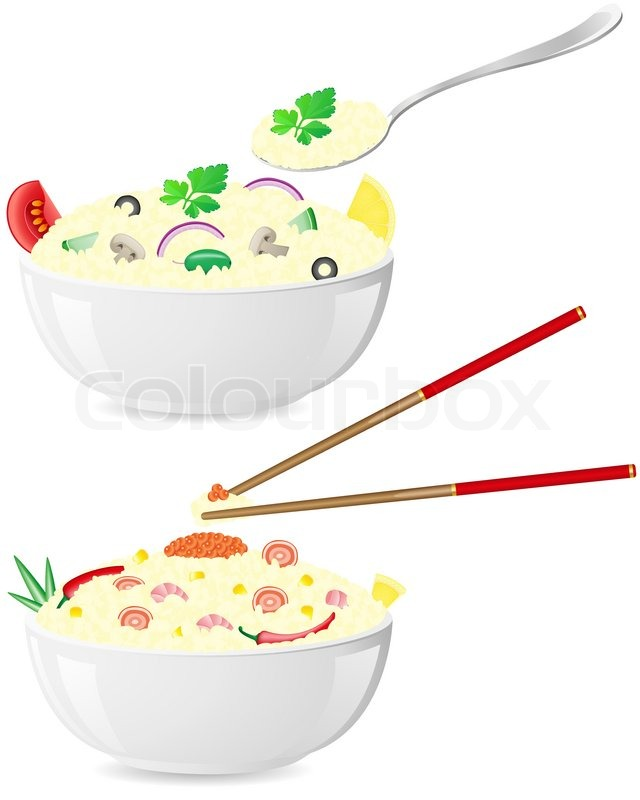 Italian and asian rice with vegetables vector illustration ...