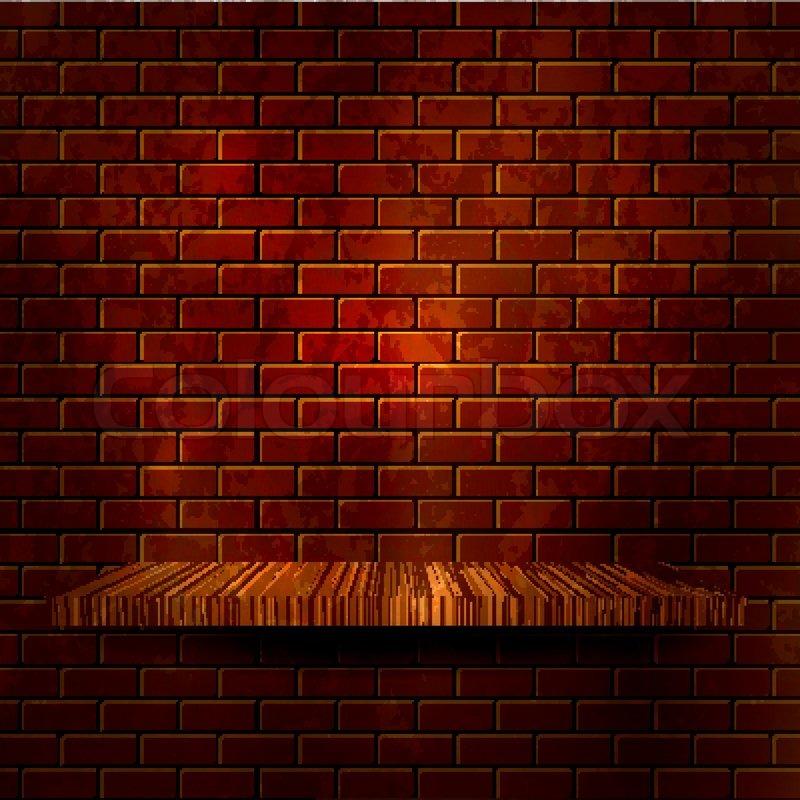 Wooden shelf with brick wall Vector     | Stock vector