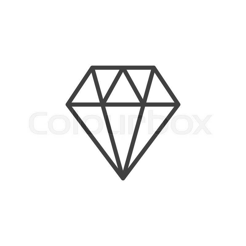 Diamond crystal gemstone outline icon      | Stock vector