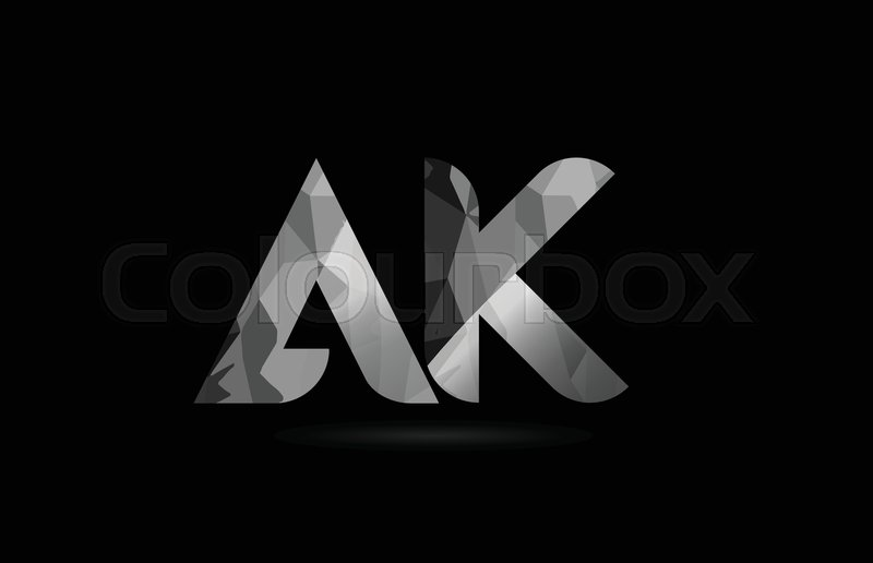 Alphabet Pictures For Each Letter Black And White.Black And White Alphabet Letter Ak A K Stock Vector