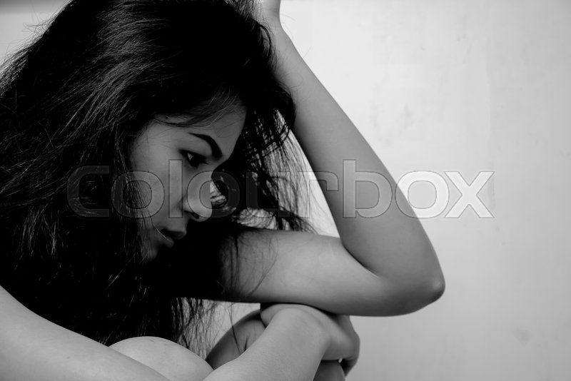 Sad woman in black and white, stock photo