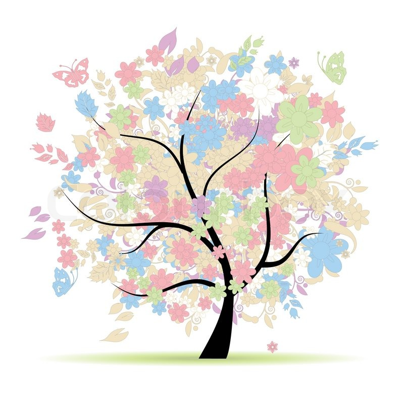 Completely new Floral tree in pastel colors for your design, spring | Stock  CN58