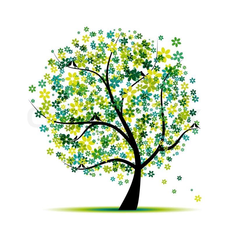 Spring floral baum und v gel f r ihr vektorgrafik - Baum comic bilder ...