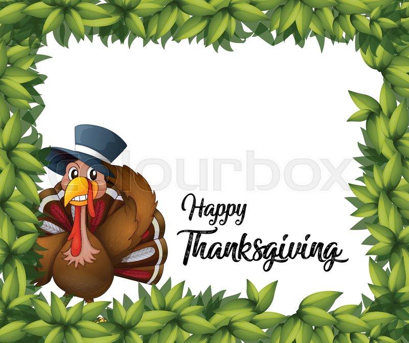turkey thanksgiving card template illustration stock vector