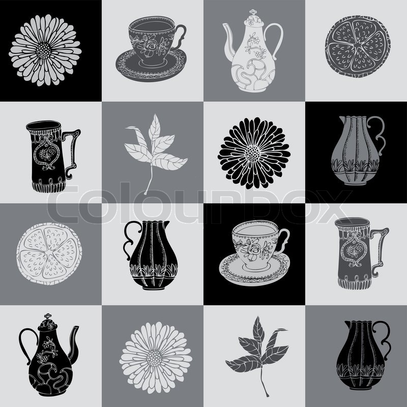 abstract background  tea time vector wallpaper  monochrome