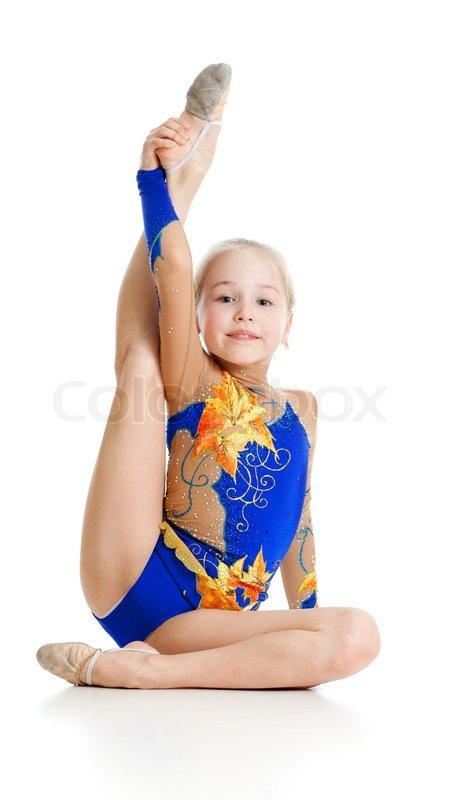 Pretty girl gymnast over white background | Stock Photo ...