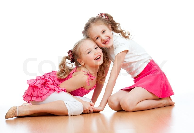 Two Girls Are Playing Together Isolated   Stock Image -8012