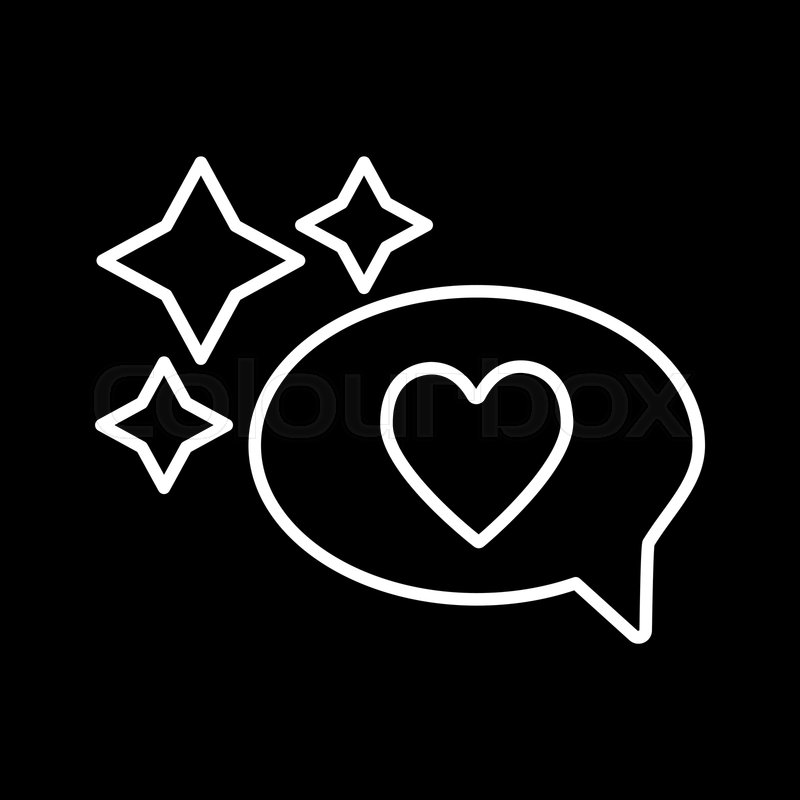 Heart in a speech bubble line icon      | Stock vector