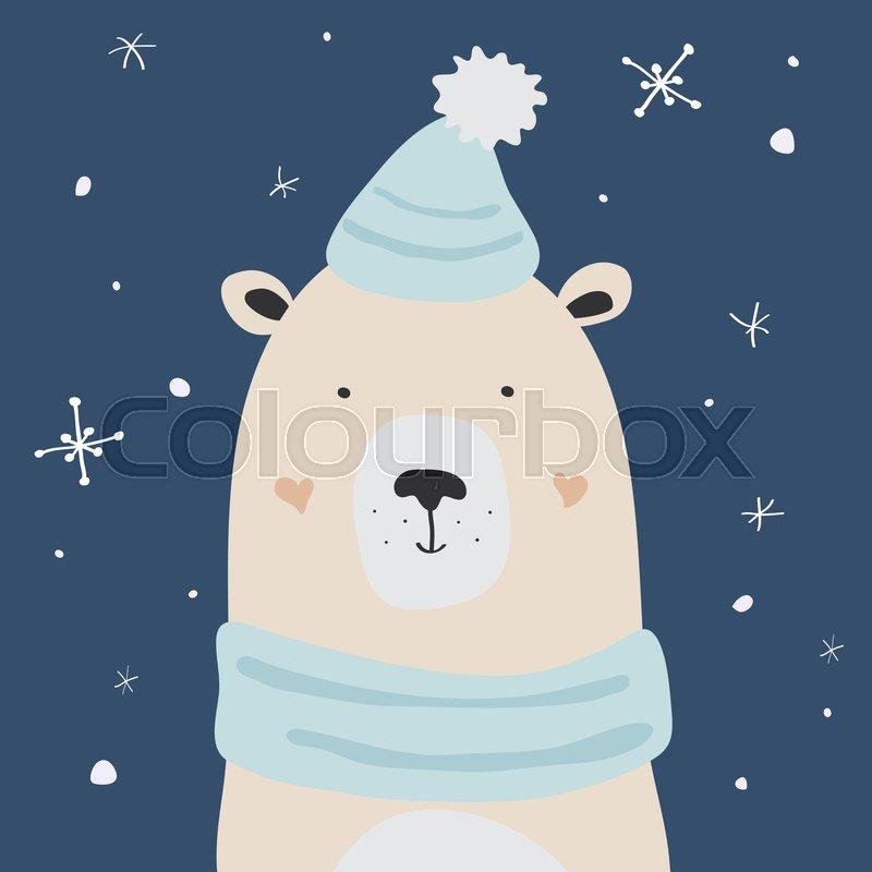 Polar bear is enjoying the snow, Christmas winter vector ...