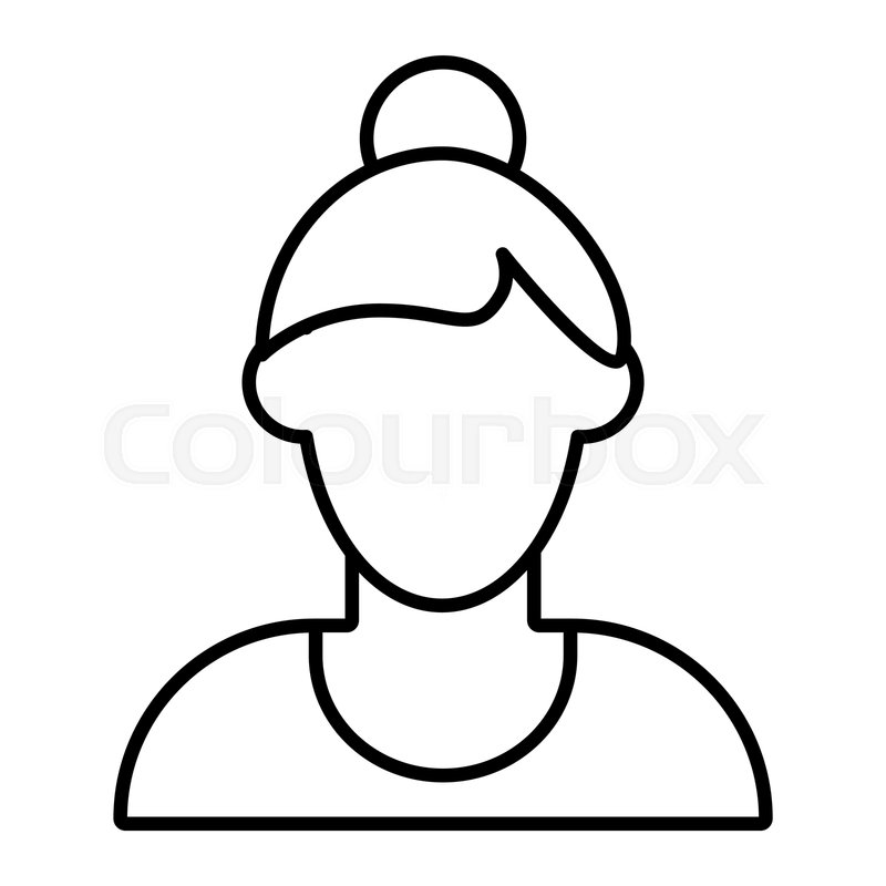 Girl Avatar With Bun Thin Line Icon Stock Vector Colourbox