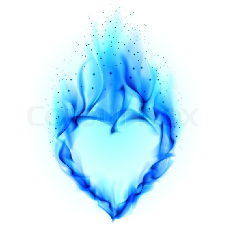 Heart In Blue Fire Stock Photo Colourbox