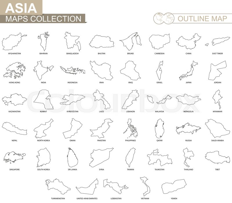 Outline maps of Asian countries ... | Stock vector | Colourbox