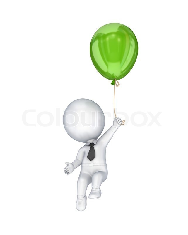 3d small person flying with a green air balloon stock for How to make a small air balloon