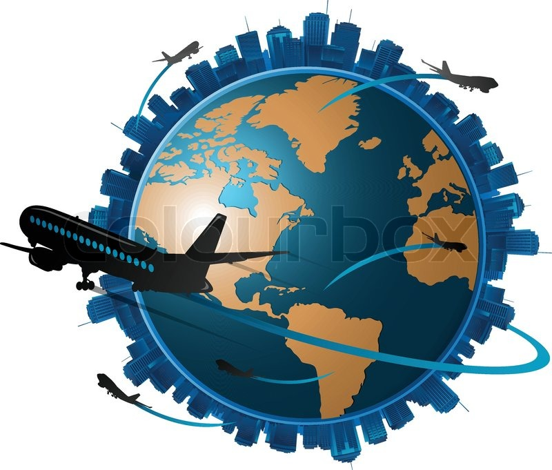 Airplane Travelling Around The Globe Travel Concept