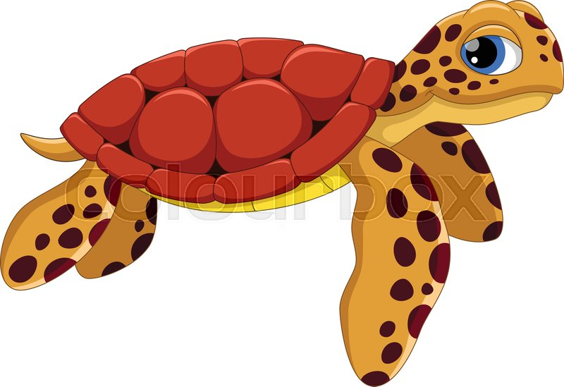 Vector Illustration Of Cute Sea Turtle Stock Vector Colourbox