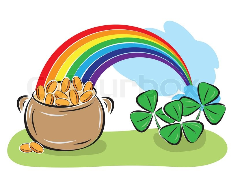 St Patrick Day Pot With Coins Rainbow And Shamrocks