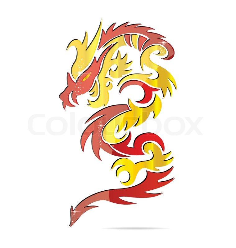 Shiny Asia Fire Dragon Symbol Stock Vector Colourbox