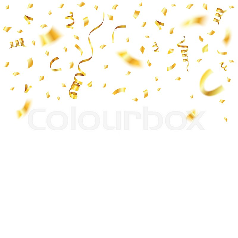 gold streamer and golden confetti twisted ribbons birthday carnival christmas party new year decoration isolated vector illustration on white