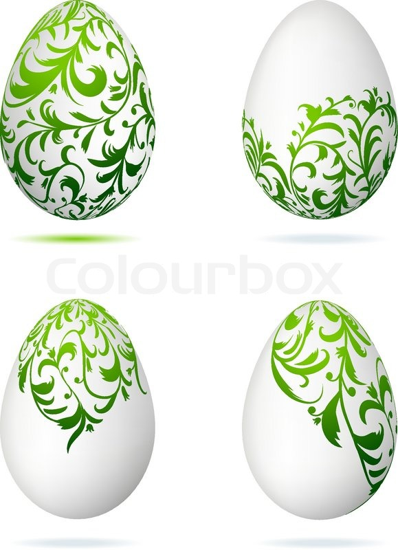 Easter Eggs White With Floral Ornament Stock Vector Colourbox