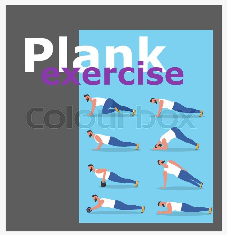 Fitness Man Doing Planking Exercise Stock Vector Colourbox