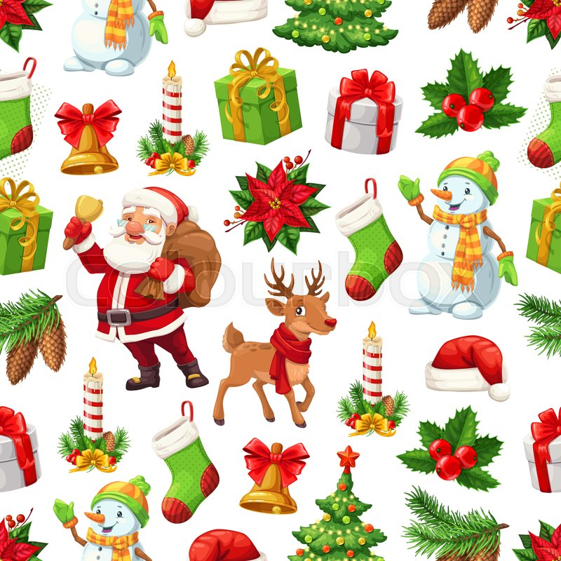 christmas pattern background of new year celebration symbols vector seamless design of cartoon xmas tree santa and snowman with new year gifts