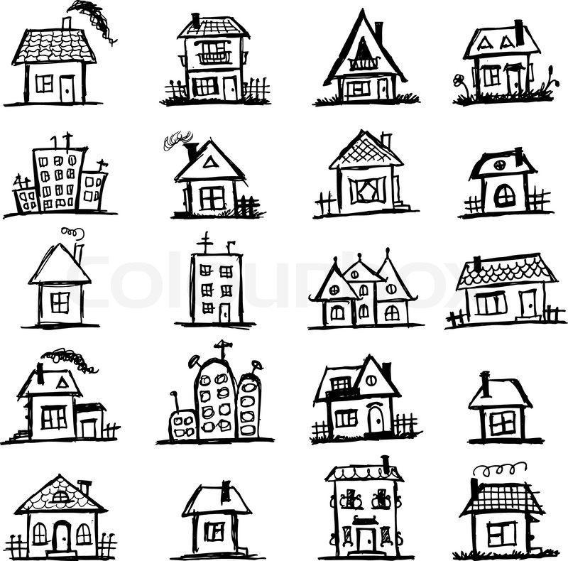 Line Drawing Of Your House : Sketch of art houses for your design stock vector