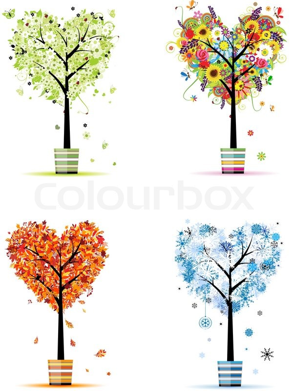 Four seasons spring summer autumn winter art trees in for 4 seasons decoration