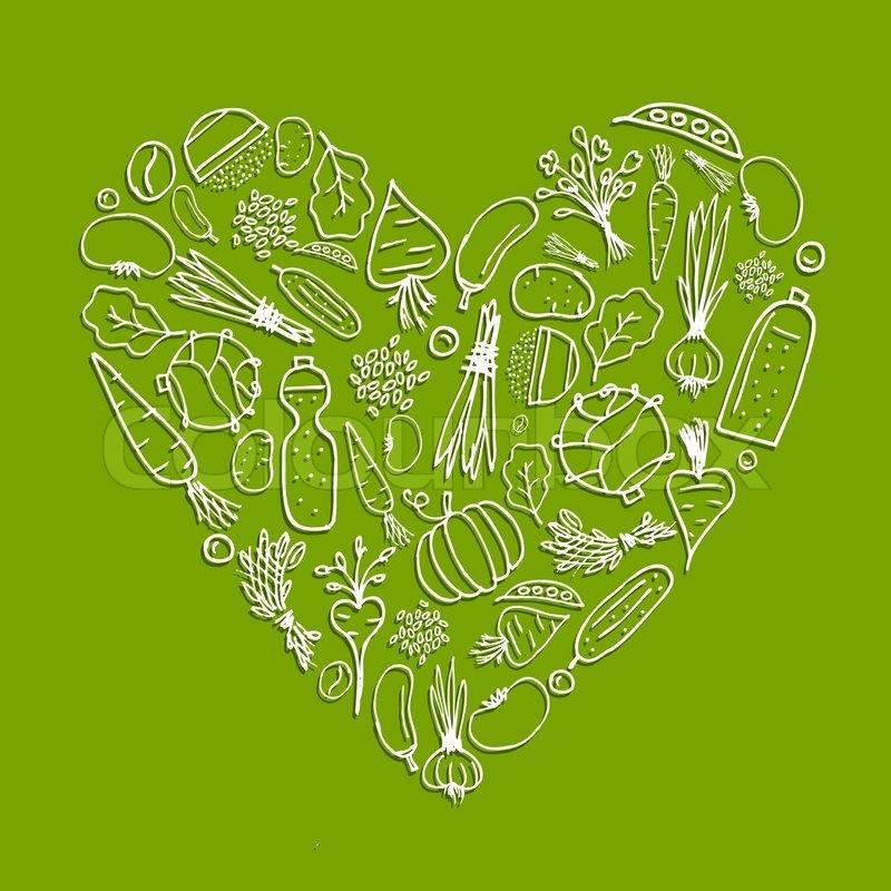 Heart Shaped Vegetables Healthy life - heart shape
