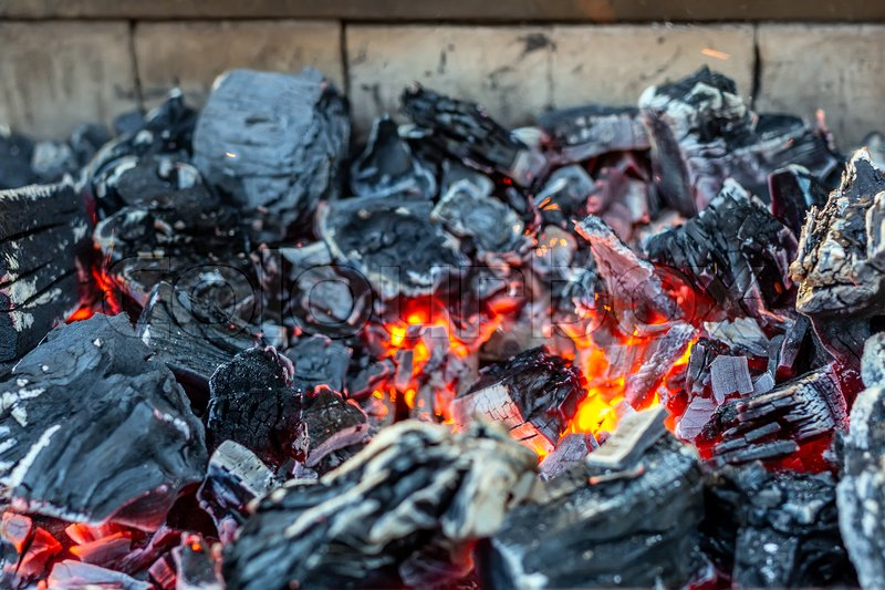 Burning Coal In Iron Brazier Stock Image Colourbox