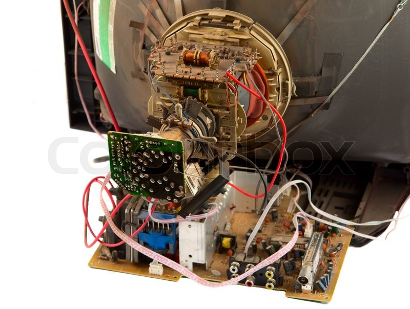 Repair of old TV isolated | Stock image | Colourbox
