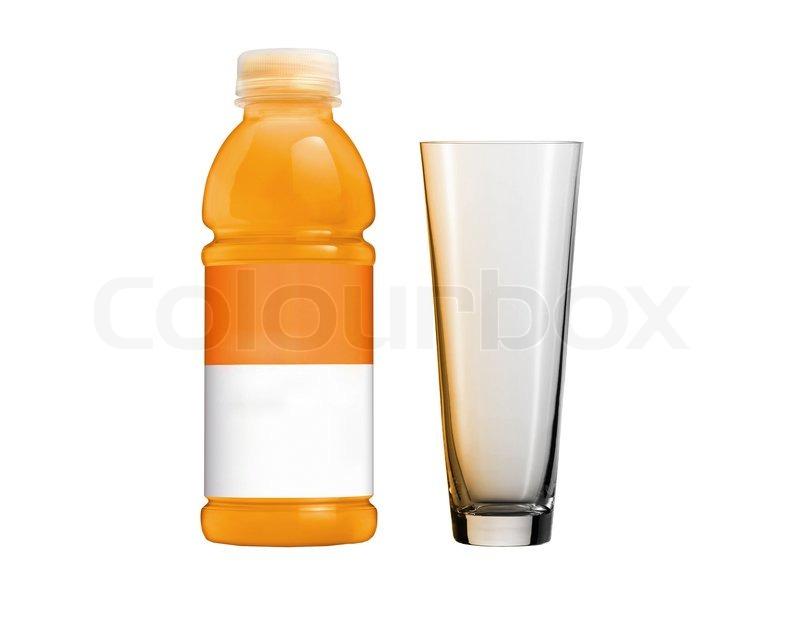 Orange juice in plastic bottle and glass | Stock Photo ...