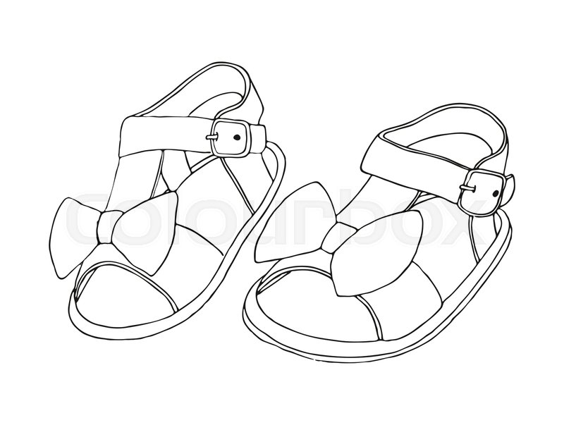 3c436d7d459ad Sketch of children's sandals for ... | Stock vector | Colourbox
