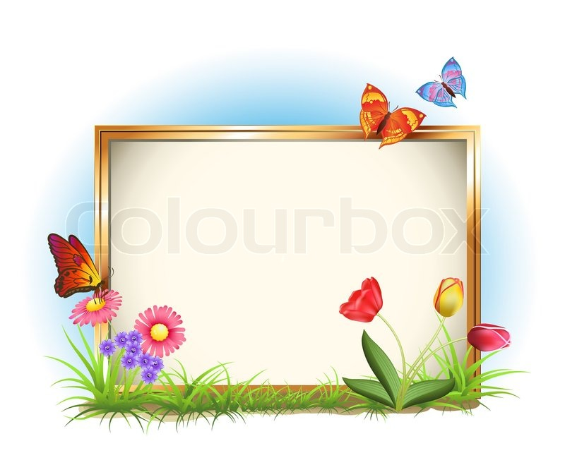 Photo frame with spring flowers and butterflies | Stock Vector ...