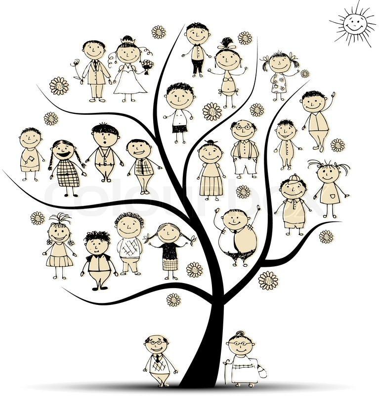 friendship tree template - stammbaum verwandte leute skizze vektorgrafik colourbox