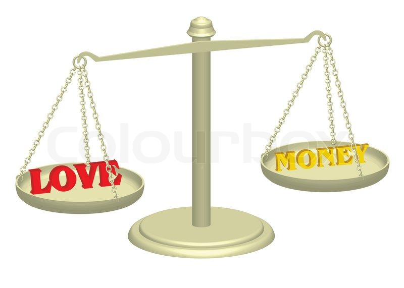 Love And Money On Justice Scales   Stock Image  Colourbox-4822