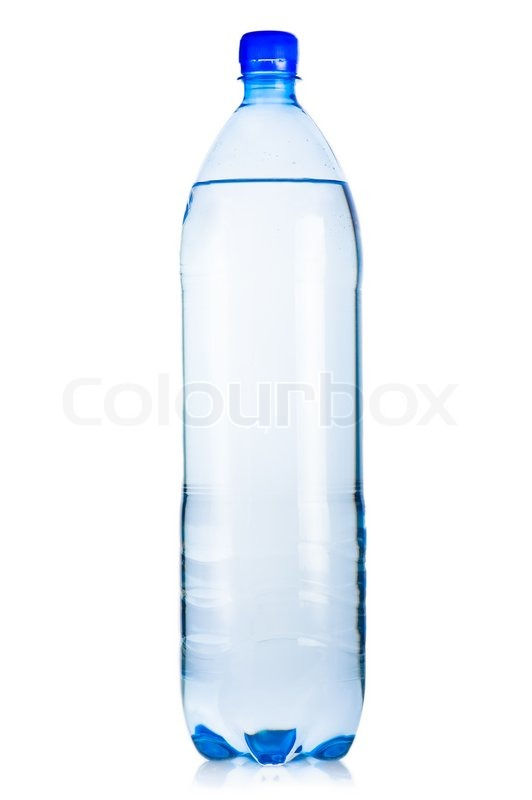 Blue Plastic Bottle Of Iced Mineral Water With Bubbles On
