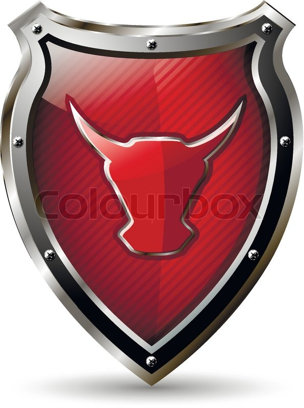 shield with the red bull stock vector colourbox