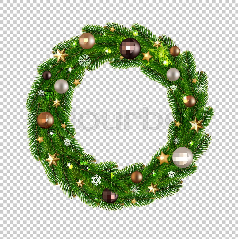 Christmas Wreath Isolated Transparent Stock Vector Colourbox