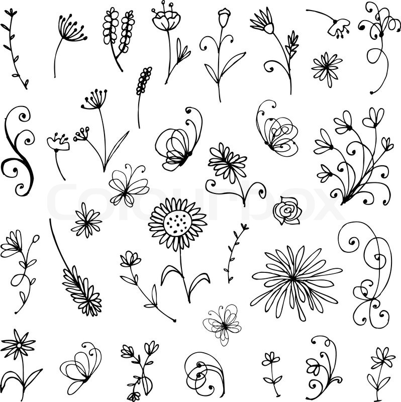 Sketch Of Floral Elements For Your Design Stock Vector