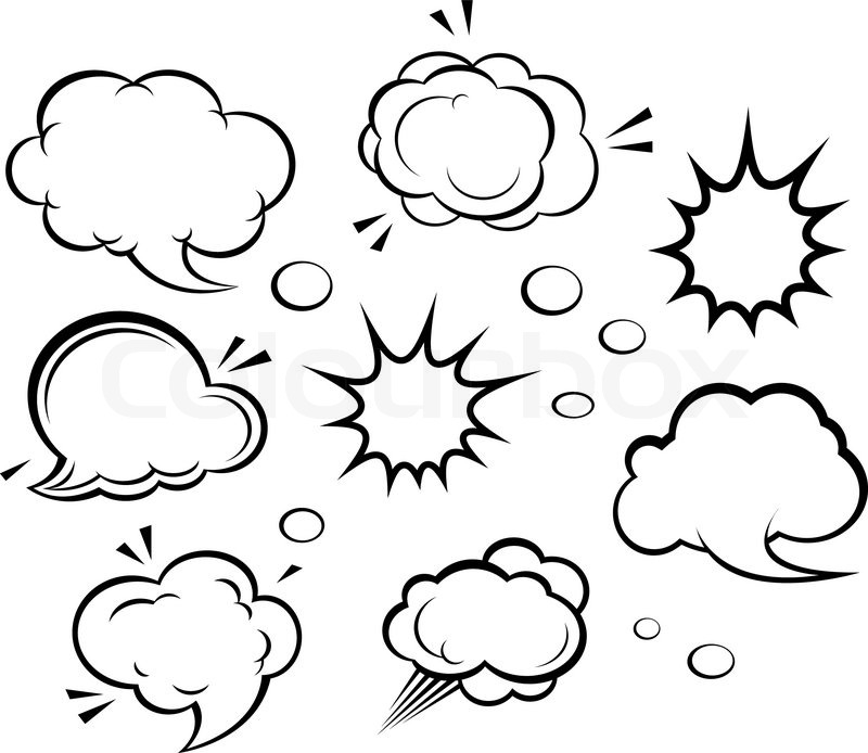 Cartoon Clouds And Explosions Vector Colourbox