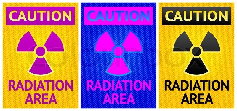 Stikers Caution Sign Labels Radiation Hazard Symbol Stock Vector
