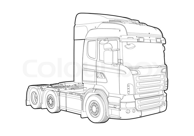 Outline Truck Stock Vector Colourbox