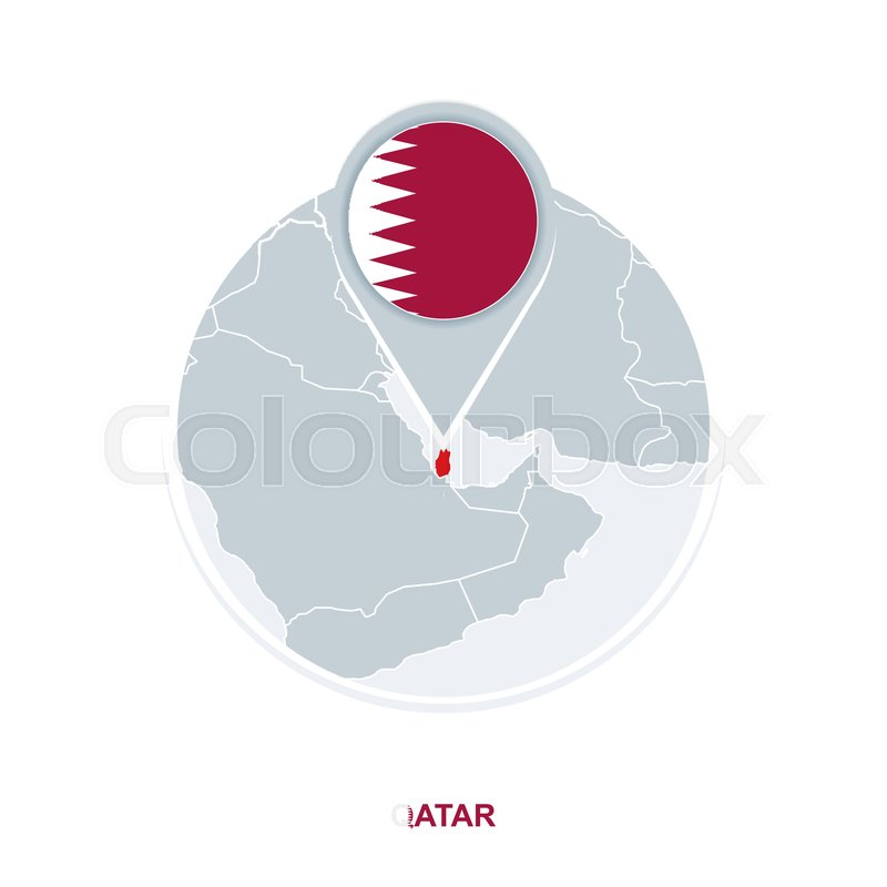 Qatar map and flag, vector map icon ... | Stock vector ...